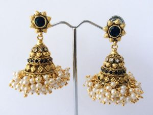 Antique Pearl-Cluster Edged & Stone Studded Medium Jhumkas