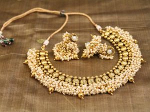 Antique Pearl Cluster Necklace & Jhumka Set