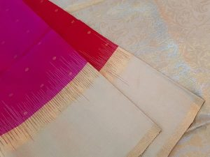 Bright Red, Dark Pink & Cream Half and Half Pure Soft Silk