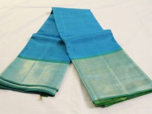 Bright Sky Blue & Lime Green Pure Kanchipuram Silk Saree