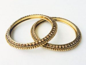 Champagne Stone Studded Antique Bangles (Pair)