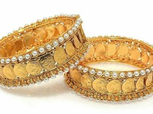 Coin Kada Embellished with Pearls (Pair)