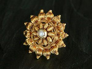 Extra Large Sunburst Antique Gold & Pearl Ring