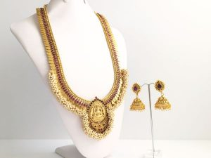 Grand Coin & Pearl Cluster Lakshmi Haaram with Matching Jhumkas (Purple)