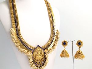 Grand Coin & Pearl Cluster Lakshmi Haaram with Matching Jhumkas (Royal Blue)