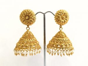 Large Flower Top Gold Jhumkas