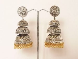 Large Triple Tier Oxidized Silver Jimikki/Jhumkas