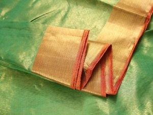 Lime Green & Papaya Orange Tissue Zari Pure Kanchipuram Silk Saree
