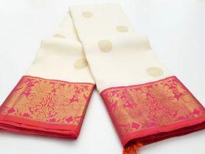 Off White & Peach Pink Pure Kanchipuram Silk Saree