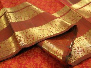 Orange Brocade Pure Kanchipuram Silk Saree