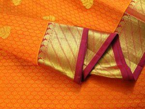 Orange Jacquard & Purplish Pink Pure Kanchipuram Silk Saree