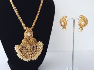 "Pearl Cluster Edged Temple Mughal Pendant on 30"" Chain"