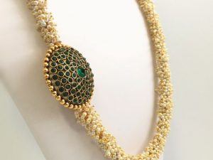 Pearl Cluster Haaram with Green Side Pendant & Matching Jhumkas