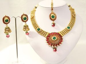 Teal & Kemp Temple Necklace, Jhumka, and Tikka Set